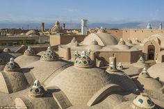 A view over the Kashan City and surrounding hills from the roof top of the Hammam Sultan M...