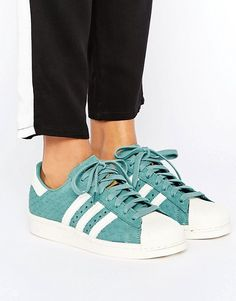 adidas Originals Teal Embossed Snake Print Superstar Sneakers
