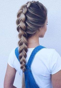 Lose geflochtene Frisuren - Braid Pferdeschwanz mit langen Haaren #frisuren ##frisuren2018