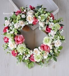 order Aさま Rose rose wreath:Vanilla,green