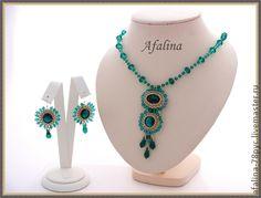 "Handmade bracelets.  Set ""Emerald"".  Afalina - Alexander Gromov.  Fair Masters.  Earrings, Swarovski bicones (swarovski)"