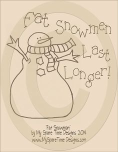 This e-pattern that is perfect for painting, stitching, applique or wood projects! Our patterns come with instructions for both painting Primitive Embroidery Patterns, Primitive Stitchery, Primitive Snowmen, Primitive Crafts, Primitive Country, Wooden Snowmen, Wood Crafts, Primitive Ornaments, Wool Applique
