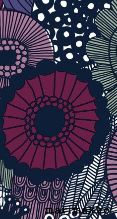 マリメッコ/花柄12 iPhone壁紙 Wallpaper Backgrounds iPhone6/6S and Plus  Marimekko Floral Pattern iPhone Wallpaper