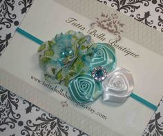 Aqua Flower Headband Baby Hair Bow Baby by TuttaBellaBoutique