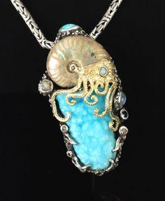 Hemimorphite and ammonite Metal Clay Jewelry, Polymer Clay Jewelry, Pearl Jewelry, Jewelry Art, Gemstone Jewelry, Jewelery, Silver Jewelry, Jewelry Design, Fossil Jewelry