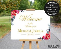 Red and Gold Wedding Welcome Sign, Red and Gold Wedding Decorations, Wedding Entrance Poster, Wedding Welcome Sign, Red Floral, Flowers