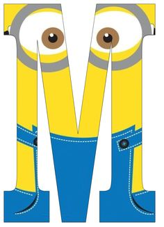 Typography - Minion Alphabet - Letter M Minion Theme, Minion Birthday, Minion Party, Boy Birthday, Birthday Themes For Boys, 1st Birthday Parties, Theme Mickey, Alphabet And Numbers, Baby Boy Shower