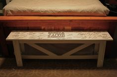 """This is just cool. A bench used as a wedding """"guestbook"""""""