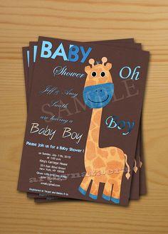 Baby Shower Invitation Baby Boy Shower Invitation FREE thank you card included  printable invitation DIY giraffe new baby born. $10.00, via Etsy.