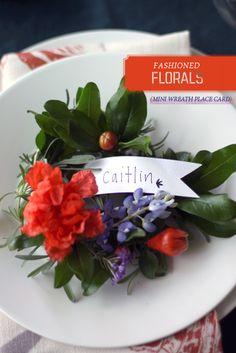 DIY mini wreath place card. nouveau romantics for oh joy
