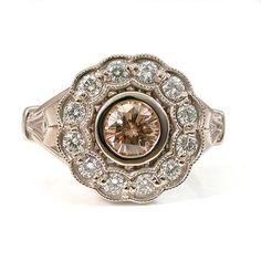Art Deco Diamond Ring  Champagne Diamond by SwankMetalsmithing   http://www.etsy.com/listing/113867564/art-deco-diamond-ring-champagne-diamond
