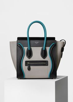 Micro Luggage Handbag in Smooth Calfskin with Piping - Céline