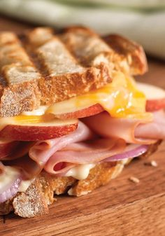Cheesy Ham & Apple Panini -- In just 10 minutes, this perfectly delicious panini recipe is ready to enjoy. Serve with a mixed green salad  to round out the meal.