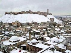 Aleppo in the white snow before the 2011 revolution