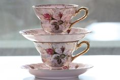 Antique Tea Cups   Lovely Pink tea cups from my vintage tea cup collection