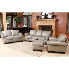 Abbyson Landon 4 Piece Top Grain Leather Sofa/ Loveseat/ Armchair/ Ottoman (