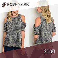 🚨LAST 2 Charcoal wash cold shoulder top This charcoal wash cold shoulder top features a roundhouse neckline and exposed shoulders for a super trendy look! The fabric is 60% cotton and 40% polyester. Stretchy and comfortable! Fits true to size. BellaBae Tops Tees - Short Sleeve