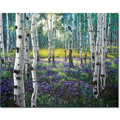 Meadow of Amethyst - Aspen Paintings Birchtree Art by Jennifer Vranes JensArt