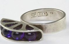 The ring is a size and also has the makers initials of IB. A wonderful addition to your collection. Kulta, Jewerly, Heart Ring, Initials, Vintage Jewelry, Amethyst, Jewelry Design, Wedding Rings, Engagement Rings