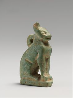 Faience amulet in the form of a cat, 664–30 B.C. Late Dynastic–Hellenistic. Egyptian. The Metropolitan Museum of Art, New York. The Cesnola Collection, Purchased by subscription, 1874–76 (74.51.4502) #cats