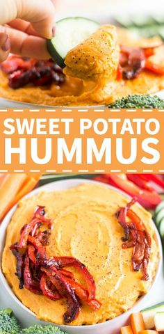 This sweet potato hummus is a healthy dip without chickpeas. It's an easy and delicious appetizer recipe that can be made quickly. Dip veggies, crackers or pita for a healthy start to a meal or snack for a party. Healthy Bedtime Snacks, Healthy Dips, Quick Snacks, Healthy Recipes, Healthy Dip For Veggies, Protein Recipes, Vegetarian Recipes, Yummy Appetizers, Appetizer Recipes