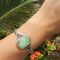 This minty green chrysoprase cuff has found its new home.  So excited to work on more cuffs - the next one will feature a large white cowrie & a pair of matching cobalt blue sea glass. Stay tuned!  #handmade #mintgreen #chrysoprase #cuff #summerlovejewelry