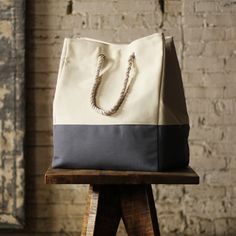 Canvas Tote Laundry Bag in Gray