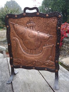 Spectacular copper and wrought iron fire screen by John Pearson. Rose Gold Theme, Copper Work, Antique Copper, Brass, Iron Decor, Art Nouveau Jewelry, Wood Art, Metal Working, Pewter