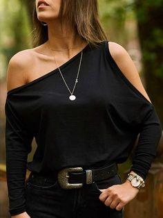 Fashion Pure Color Sloping Shoulder T-Shirts Look Fashion, Fashion Outfits, Womens Fashion, Vetement Fashion, Mode Style, Black Tops, Shirt Style, Long Sleeve Tops, Ideias Fashion