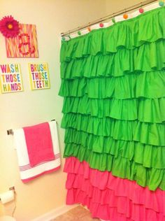 Custom Ruffled shower curtain by AHintOfModesty on Etsy, $85.00