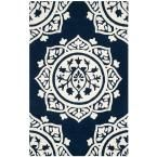 Bella Navy/Ivory (Blue/Ivory) 6 ft. x 9 ft. Area Rug
