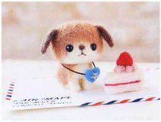 ハマナカ羊毛キット たれ耳わんこの郵便屋さんと苺のショートケーキ H441-310