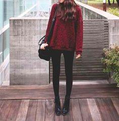 Korean fashion - loose red sweater, black leggings, black boots and black shoulder bag