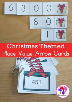 Free Christmas Themed Place Value Arrow Cards - work on building numbers from 0 to 9999 or 9999.99 to 0.99 with these Christmas Themed arrow cards. Plus use task cards to build the numbers. - 3Dinosaurs.com #placevalue #arrowcardsplacevalue #placevaluearrowcards #christmasprintable #christmasmath #handsonlearning #thirdgrade #fourthgrade Christmas Math, Christmas Activities For Kids, Christmas Themes, Early Learning, Kids Learning, Math Facts, Place Values, Free Coloring Pages, Task Cards