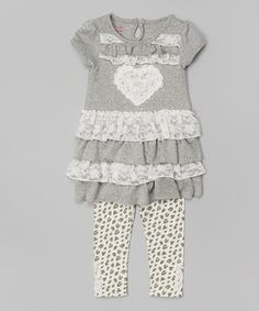 Another great find on #zulily! Gray Heart Ruffle Tunic & Leopard Leggings - Toddler & Girls by Nannette Girl #zulilyfinds