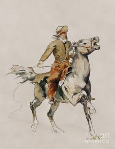 Image detail for -... Frederic Remington Painting - After The Cowboy by Frederic Remington