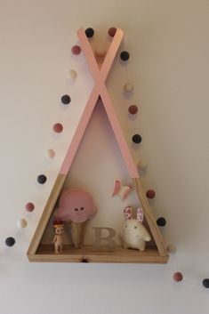 Teepee Kid's Shelf Tribal Nursery Decor Kids Room Decor Wall Decor Woodland