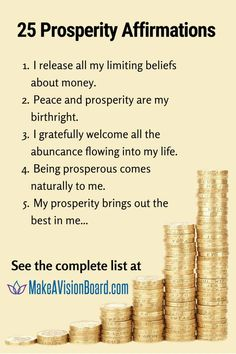 Prosperity affirmations will help shift your mindset to attract wealth List Of Affirmations, Prosperity Affirmations, Positive Affirmations, Young And Rich, Secret Quotes, Law Of Attraction Money, Ring True, Negative Thinking, Negative Self Talk