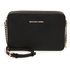 MICHAEL Michael Kors 'Large Jet Set' East/West Saffiano Crossbody Bag (46.505 HUF) ❤ liked on Polyvore featuring bags, handbags, shoulder bags, chain strap handbag, cross body travel purse, chain strap crossbody, crossbody purse and travel purse