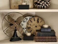 Antiques Decor fan clock books