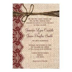 Country Burlap Maroon Lace Twine Wedding Invites