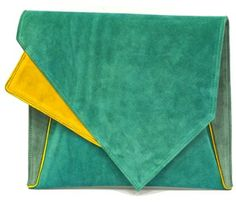 Carnet de Mode Soulder bag - GEOMETRIC - GREEN on shopstyle.com   Handcrafted from suede leather, with smooth and soft texture the bag has an elegant and geometric design. Light green covers the body with green on the inside and a mustard detail on the flap. The adjustable-length strap with bronze details is detachable and allows transforming the bag into a stylish clutch. The main compartment is asymmetrical with sufficient space, complemented with two pockets one of which is zipper..