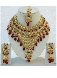 Jewelry & Watches Delicious Indian Gold Tone Acrylic Stone Traditional 2pc Pendant Necklace Set Jewellery Latest Fashion Engagement & Wedding
