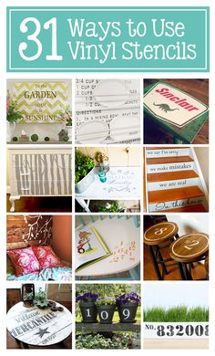 DIY:: 31 Ways to Use Vinyl Stencils in Home Decor — Frugal ways to add character and personality to almost any surface! (Tutorials for interior design 2012 house design interior decorating room design Vinyl Crafts, Vinyl Projects, Diy Projects To Try, Crafts To Make, Craft Projects, Paper Crafts, Project Ideas, Washi, Used Vinyl
