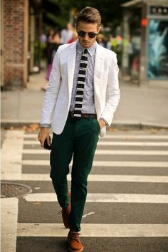 Shop this look on Lookastic:  http://lookastic.com/men/looks/blazer-dress-shirt-tie-chinos-derby-shoes-belt/137  — White Cotton Blazer  — White and Black Gingham Dress Shirt  — Black and White Horizontal Striped Tie  — Dark Green Chinos  — Brown Suede Derby Shoes  — Dark Brown Leather Belt