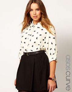 ASOS CURVE Exclusive Shirt In Elephant Print