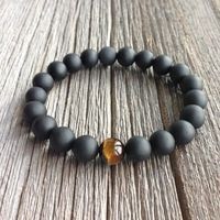 High Quality Handmade Men's Jewelry 10mm Beads Bracelets With A Black Matte Onyx Natural Stone Tiger Eye Beads And Real Jewelry