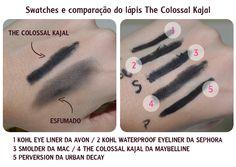 swathes e comparações do lápis the Colossal Kajal da Maybelline The Colossal Kajal da Maybelline