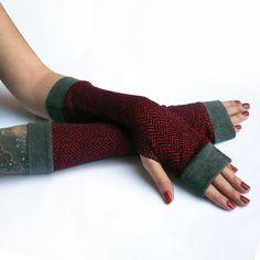 Winter Red Arm WarmersFingerless Gloves with grey by WearMeUp, $21.50