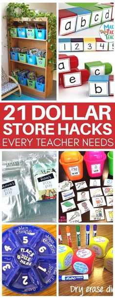 This is EXACTLY what you need as a new teacher on a budget! Super creative teacher dollar store hacks to organize your classroom and make cheap DIY classroom activities your students will love!